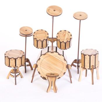 儿童手工玩具diy制作3d立体拼图幼儿园礼品拼装拼板乐器 竹木爵士鼓