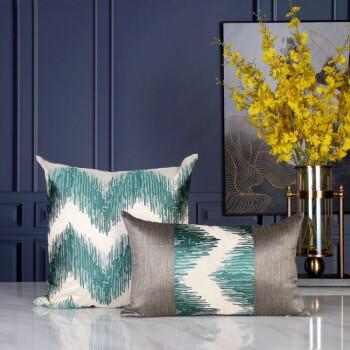 ziluolai姿罗莱家纺品牌地中海风格样板房几何花纹抱枕客厅沙发简约