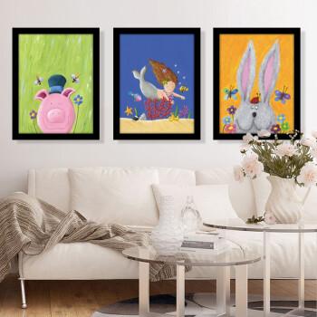 现代简约男孩儿童房装饰画女孩卧室床头挂画卡通动物壁画幼儿园墙画 i