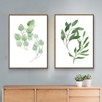 小清新客厅装饰画沙发背景墙画玄关挂画两联画卧室餐厅壁画植物叶子 b