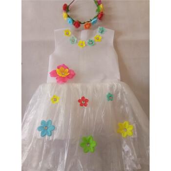 手工制作环保服装儿童时装秀演出服幼儿园走秀服装女公主裙子装 米