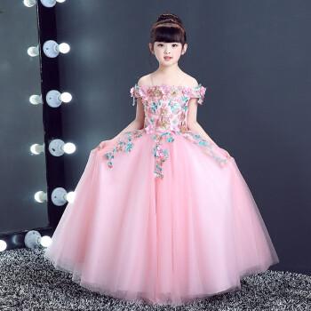 花童婚纱礼服儿童礼服裙女一字肩公主裙钢琴表演大童主持人晚礼服