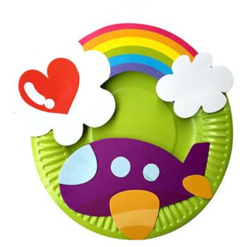 纸盘材料包幼儿园美劳创意包儿童diy手工制作彩色盘子
