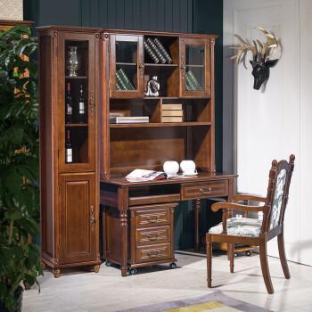 欧式写字桌台式电脑桌家用写字台美式实木书桌带书架书柜一体组合定制