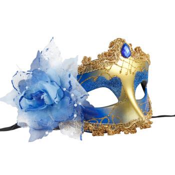 面具万圣节舞会面具女化妆面具舞会创意礼物侧花珠链面具女珠链玫瑰