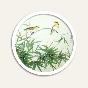 竹报平安 装饰画新中式竹子圆形框壁画工笔墙画挂画照片墙客厅画sn