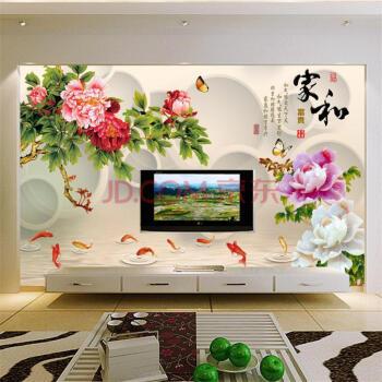 牡丹雕刻玄关家和自然风景花朵墙纸壁画瓷砖立体电视中式无纺布影视墙