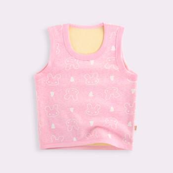 背心纯棉打底加绒加厚儿童婴儿保暖坎肩秋冬套头马甲 套头 粉色兔子