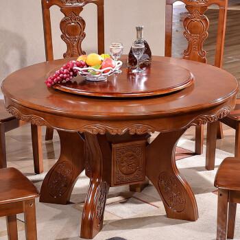 实木餐桌圆形中式圆餐桌大理石带转盘家用吃饭桌小户型餐桌椅组合 1.