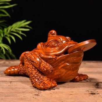 花梨木雕金蟾摆件 红木三足金蟾动物蟾蜍家居客厅办公
