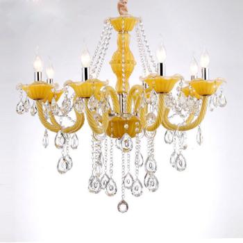 欧式水晶吊灯 客厅卧室黄色彩色漫咖啡ktv黄水晶灯吊灯酒店创意灯 10
