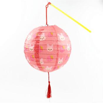 儿童彩色纸灯笼幼儿园吊饰子中秋节礼物手提发光led灯笼 草莓兔圆卡通