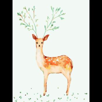 手绘卡通动物鹿头油彩画客厅填色画 乳白色 梅花小鹿 40*50二代彩色