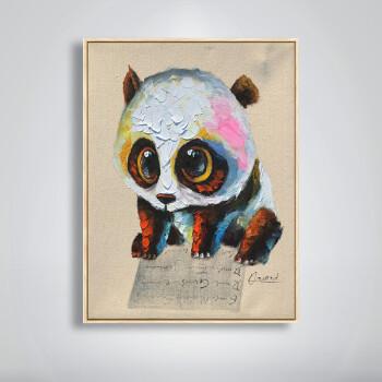 印象斑斓 熊猫宝贝 原创可爱动物纯手绘油画 创意礼品