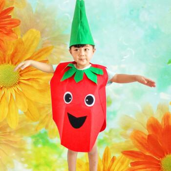 万圣节儿童水果蔬菜造型幼儿园环保时装秀动物子表演出衣服 西瓜红
