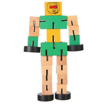 木制变形金刚魔方机器人木质百变汽车人立体木头积木玩具 绿色