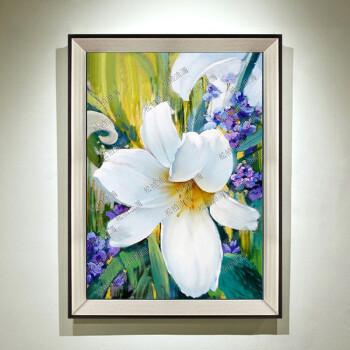 现代简约客厅装饰画手绘立体抽象画百合花卉卧室壁画百年好合 yh844(n