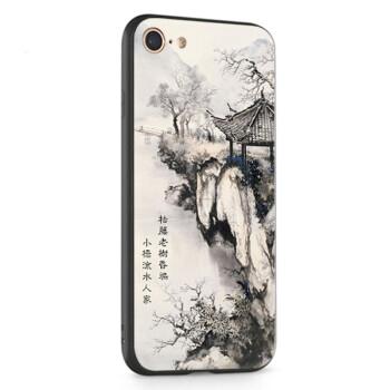 璇特 复古中国风水墨山水风景画诗韵防摔浮雕手机壳 适用于oppo r9 9s