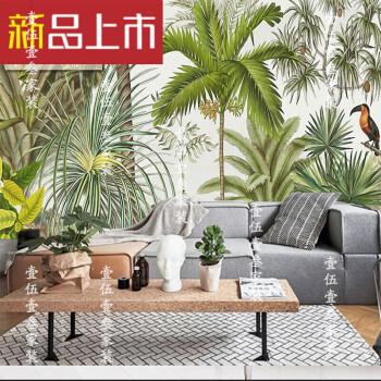 fghgf东南亚风格热带雨林芭蕉叶绿色植物墙纸手绘艺术餐厅壁纸大型