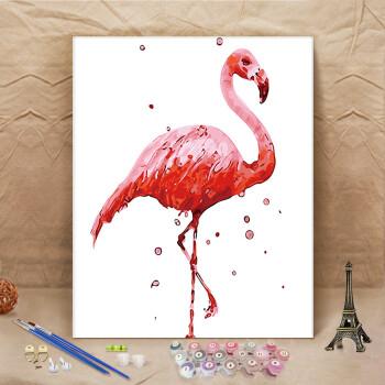 数字油画油彩画手工填色画手绘数学数码装饰壁画 粉红色 a435火烈鸟