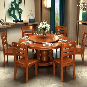 转盘餐桌家用组合转盘圆形创意仿古别墅家用简易餐椅法式乡村折叠户外