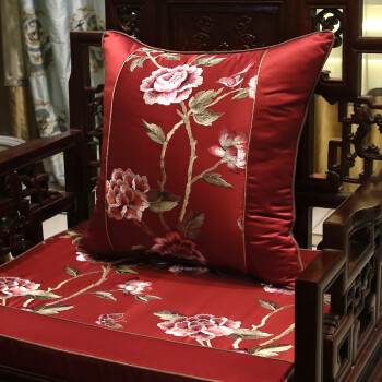 新中式古典刺绣花抱枕红木沙发靠垫圈椅腰靠枕床头大靠背含芯定制图片