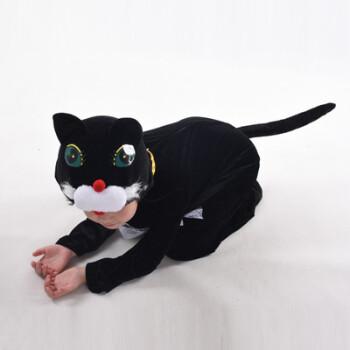 儿童动物演出服大灰狼表演服装小鹿松鼠蜗牛狮子狐狸熊猫大象 黑色 猫
