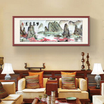 好久不见 新中式客厅装饰画沙发背景墙挂画山水风景画办公室壁画国画