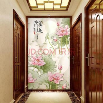 背景墙壁纸3d立体荷花现代中式咏荷壁画餐厅客厅墙布 无缝8d立体uv