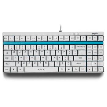 雷柏(Rapoo) V500 机械游戏键盘 机械黄轴 白色版