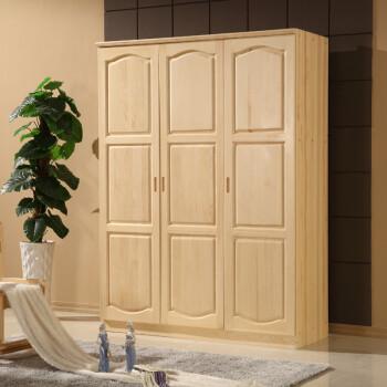 索格家具 卧室衣柜 实木衣柜 松木衣柜 松木三门圆弧衣柜 卧室储物柜
