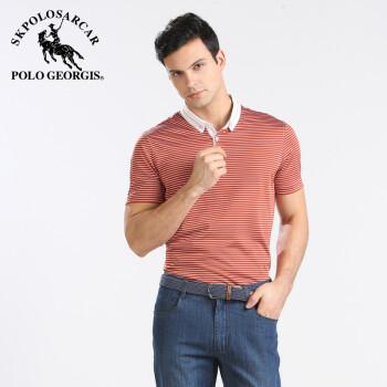正品桑蚕丝t恤男短袖 国际品牌男装 鲨鱼男士夏装名牌商务T 红色 S 165