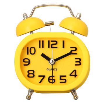 汉时(hense)儿童闹钟 钟表创意可爱静音夜灯懒人时钟ha16 黄色方形(送