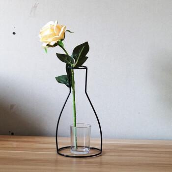 北欧风工业风创意铁艺花瓶造型花瓶插花干花花艺g b款花瓶(含玻璃瓶)图片