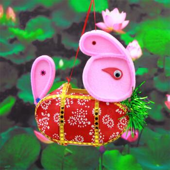 手工灯笼春节diy制作材料包儿童手提传统兔子灯笼元宵花灯led发光sn0