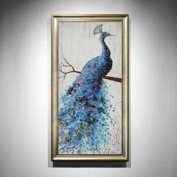 装饰画竖版美式客厅壁画手绘油画定制厚油孔雀挂画sn2851 香槟色画框4