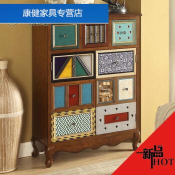 原创彩绘三斗两门手工制作储物柜板木鞋柜门厅玄关柜
