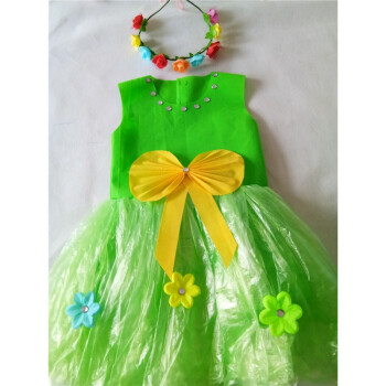 手工制作环保服装儿童时装秀演出服幼儿园走秀服装女公主裙子装 墨