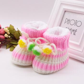 加绒袜手工编制新生儿宝宝鞋子0-12个月学步鞋yy红白带弹性底长11cm