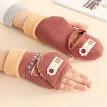 半指手袜冬天女可爱韩式针织毛线手套女孩学生保暖