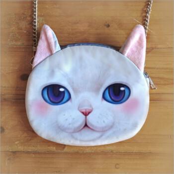 taoyee 可爱猫头链条包3d印花单肩包方便实用女包 白色
