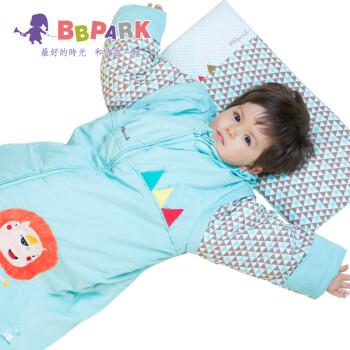 贝贝帕克bbpark 儿童纯棉秋冬 加厚脱袖成长睡袋  婴儿睡袋 婴儿睡袋秋冬 宝宝睡袋 湖蓝狮子 90加厚