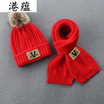 港蕴儿童帽子秋冬宝宝2加绒6男童毛线帽围巾套装女4岁