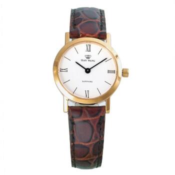 天王表(TIANWANG)手表 皮带石英情侣表女表棕色LS3612G