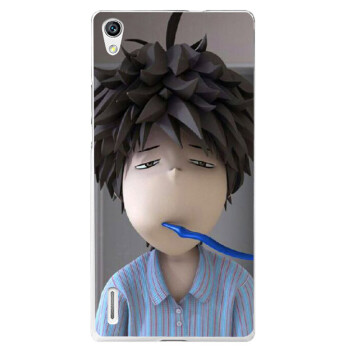 通彩绘手机壳保护套 适用于华为P7 瞌睡男【图