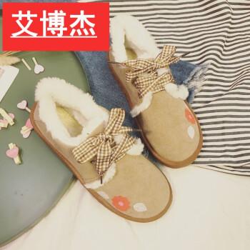 艾博杰 韩风chic清新手绘花朵雪地靴学生面包棉鞋女加