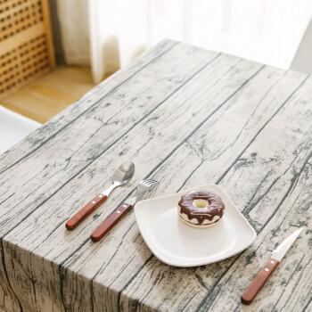 田园木纹棉麻仿真树皮清新桌布 茶几餐桌布艺长方形拍照摄影背景 a1