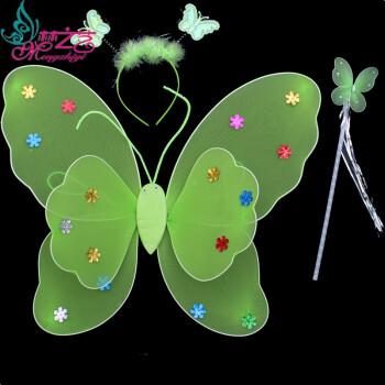 梦之艺万圣节儿童演出服装表演道具公主舞蹈裙双层天使蝴蝶翅膀三件套