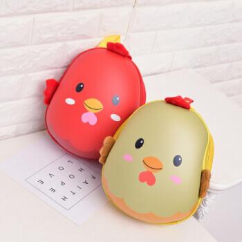 幼儿园可爱书包 男女孩宝宝2-3-5岁儿童小鸡卡通蛋壳背包jj 红色