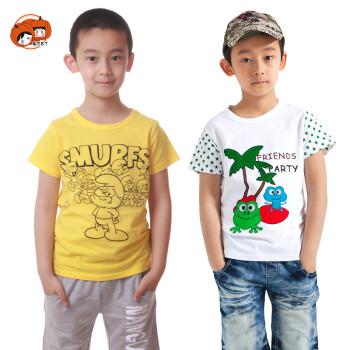 南瓜布丁 男童夏装纯棉短袖T恤组合超值两件装 组合2 90